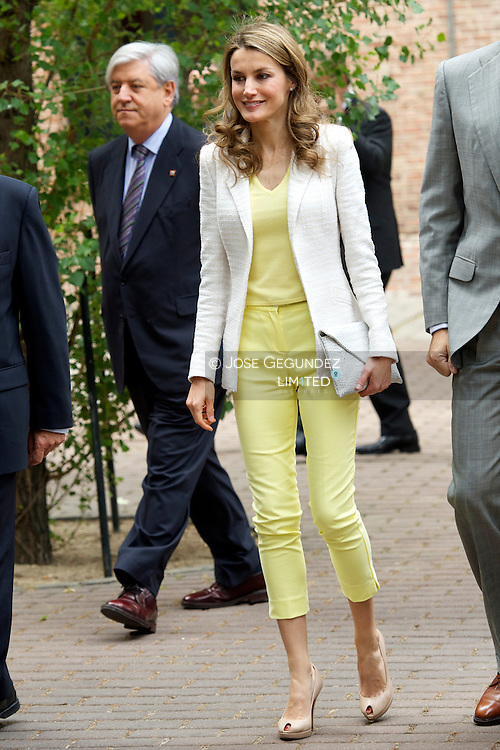 Prince Felipe of Spain and Princess Letizia of Spain attend the Annual Meeting of the Board of the Student Residence at Residencia de Estudiantes on June 18, 2013 in Madrid