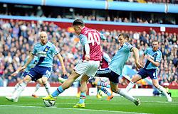 Aston Villa's Jack Grealish crosses for Aston Villa's Tom Cleverley to score  - Photo mandatory by-line: Joe Meredith/JMP - Mobile: 07966 386802 - 09/05/2015 - SPORT - Football - Birmingham - Villa Park - Aston Villa v West Ham United - Barclays Premier League