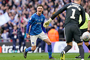 Oliver Hawkins of Portsmouth celebrate his goal during the penalty shoot out as Portsmouth win the EFL Checkatrade Trophy during the EFL Trophy Final match between Portsmouth and Sunderland at Wembley Stadium, London, England on 31 March 2019.