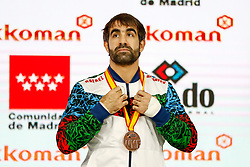November 10, 2018 - Madrid, Madrid, Spain - Aghayev Rafael (AZE) win the bronce medal and the third place of the tournament of male Kumite -75 Kg during the Finals of Karate World Championship celebrates in Wizink Center, Madrid, Spain, on November 10th, 2018. (Credit Image: © AFP7 via ZUMA Wire)