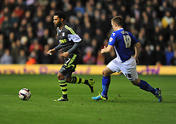 Stoke City's Jermaine Pennant runs the ball away from Birmingham City's Mitch Hancox -  - Photo mandatory by-line: Alex James/JMP - Tel: Mobile: 07966 386802 29/10/2013 - SPORT - FOOTBALL - ST Andrew's - Birmingham - Birmingham City v Stoke City - Capital One Cup - Forth Round