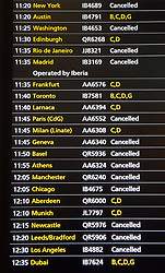 © Licensed to London News Pictures. 11/12/2017. London, UK. Cancelled flights are displayed at Heathrow's Terminal 5 after yesterday's snow continues to affect transport. British Airways had already cancelled 30 flights before 10am today. Photo credit: Peter Macdiarmid/LNP