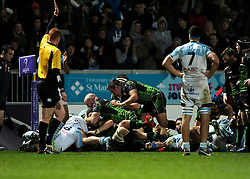 Exeter Chiefs' Blindside Flanker, Dave Ewers scores a try  - Photo mandatory by-line: Joe Meredith/JMP - Mobile: 07966 386802 - 24/01/2015 - SPORT - Rugby - Exeter - Sandy Park Stadium - Exeter Chiefs v Bayonne - Challenge Cup Round 6