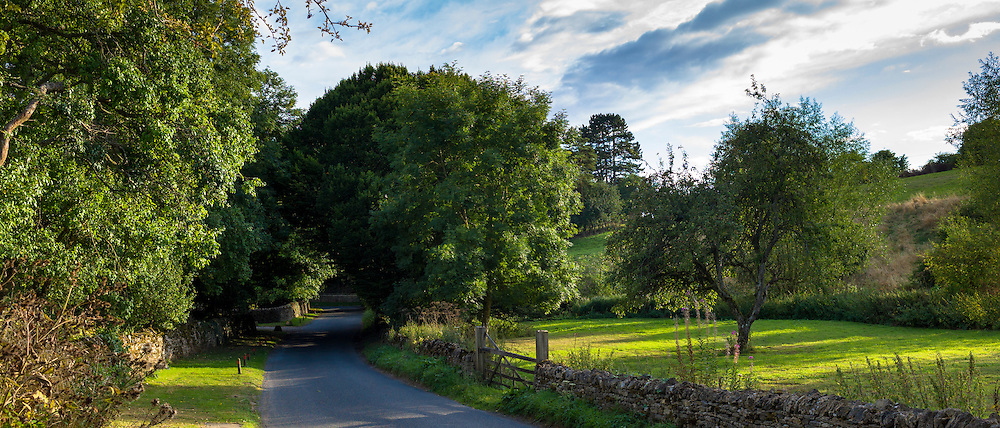 Country lane rural scene in Swinbrook in The Cotswolds, England, United Kingdom