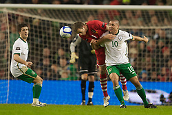 DUBLIN, IRELAND - Tuesday, February 8, 2011: Wales' Danny Collins and the Republic of Ireland's Jonathan Walters during the opening Carling Nations Cup match at the Aviva Stadium (Lansdowne Road). (Photo by David Rawcliffe/Propaganda)