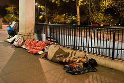 """Romanian beggars, estimated 50-100 people sleep out in smaller groups around Marble Arch in London. Tens of thousands of people from Romania are expected to try to come to Britain once controls are lifted in January. Under """"transitional"""" rules introduced when Romania and Bulgaria joined the EU in 2007, migrants from these two countries can only work in the UK in seasonal jobs. These restrictions end on January 1, 2014, and all Romanians and Bulgarians will then have the same rights to work in the UK as British citizens. Marble Arch, London, United Kingdom. Sunday, 1st December 2013. Picture by Peter Kollanyi / i-Images<br /> File photo -  On New Year's Day (today) Bulgarians and Romanians will arrive in Britain as restrictions on the UK labour market were lifted today. Picture filed Wednesday 1st January 2014."""