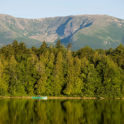 Canoeing in the early morning on Katahdin Lake in Maine's Baxter State Park.  North Basin of Mount Katahdin.
