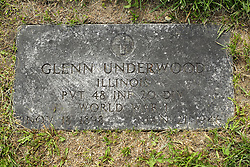 31 August 2017:   Veterans graves in Park Hill Cemetery in eastern McLean County.<br /> <br /> Glenn Underwood Illinois Private 48 INF 20 DIV World War I  Nov 18 1898  Jan 21 1946