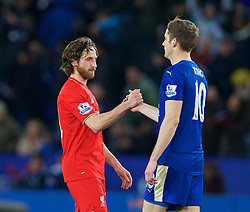 LEICESTER, ENGLAND - Monday, February 1, 2016: Liverpool's Joe Allen and his Wales international team-mate Leicester City's Andy King during the Premier League match at Filbert Way. (Pic by David Rawcliffe/Propaganda)