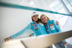 Marusa Ferk and Meta Hrovat during official presentation of the outfits of the Slovenian Ski Teams before new season 2016/17, on October 18, 2016 in Planica, Slovenia. Photo by Vid Ponikvar / Sportida