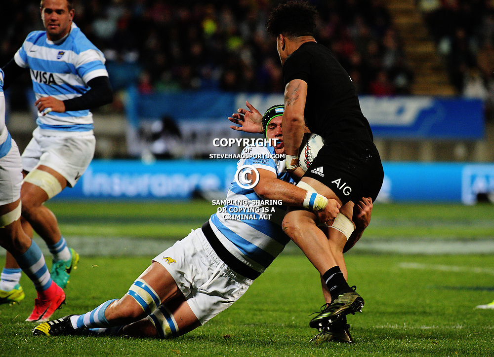 Matias Alemanno tackles Ardie Savea during the Rugby Championship match between the NZ All Blacks and Argentina Pumas at Yarrow Stadium in New Plymouth, New Zealand on Saturday, 9 September 2017. Photo: Dave Lintott / lintottphoto.co.nz