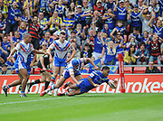 Warrington Wolves Chris Sandow dives over the line during the Ladbrokes Challenge Cup Semi-Final  match Warrington Wolves -V- Wakefield Trinity Wildcats at , Leigh, Greater Manchester, England on Saturday, July 30, 2016. (Steve Flynn/Image of Sport)