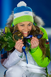 19.02.2014, Olympic Park, Adler, RUS, Sochi, 2014, Medaillenfeier, im Bild Tina Maze (SLO) waehrend der Medaillenfeier // during Medal Ceremony of the Olympic Winter Games Sochi 2014 at the Olympic Park in Adler, Russia on 2014/02/19. EXPA Pictures © 2014, PhotoCredit: EXPA/ Freshfocus/ Urs Lindt<br /> <br /> *****ATTENTION - for AUT, SLO, CRO, SRB, BIH, MAZ only*****