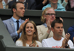 Wimbledon Tennis Championships.<br /> Andy Murray of Great Britain  girlfriend Kim Sears during Murray's singles fourth round match with Spanish player Tommy Robredo at Centre Court on day 5 of The All England Lawn Tennis Club, Wimbledon, United Kingdom<br /> Friday, 28th June 2013<br /> Picture by Andrew Parsons / i-Images