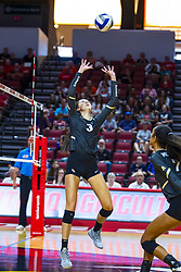 BLOOMINGTON, IL - September 14: Amber Olson during a college Women's volleyball match between the ISU Redbirds and the University of Central Florida (UCF) Knights on September 14 2019 at Illinois State University in Normal, IL. (Photo by Alan Look)