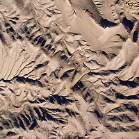 USA, Utah, Grand Staircase - Escalante National Monument, Overhead aerial view of eroded arroyos on desert floor