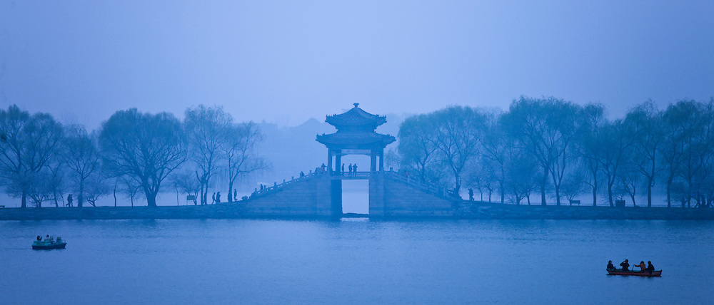 Blue stillness at Kunming Lake At The Summer Palace, formerly Garden of Clear Ripples, Beijing, China