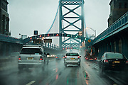 Ben Franklin Bridge in bad weather, Philadelphia, Pennsylvania, USA