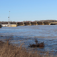 The water level of the Tenn-Tom is pictured coming up the banks south of the Aberdeen Lock and Dam during late February's flooding.