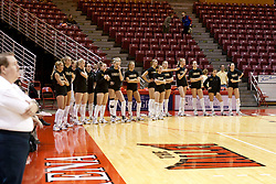 19 November 2005: The Shockers line up for the Star Spangled Banner and team introductions. The Wichita State Shockers electirfied Redbird Arena in Normal Illinois and unnested the Redbirds from their home in 3 straight games.