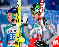 06.01.2015, Paul Ausserleitner Schanze, Bischofshofen, AUT, FIS Ski Sprung Weltcup, 63. Vierschanzentournee, Finale, im Bild Jarkko Maeaettae (FIN), Jernej Damjan (SLO) // Jarkko Maeaettae of Finland, Jernej Damjan of Slovenia reacts after his first Jump of 63rd Four Hills Tournament of FIS Ski Jumping World Cup at the Paul Ausserleitner Schanze, Bischofshofen, Austria on 2015/01/06. EXPA Pictures © 2015, PhotoCredit: EXPA/ Johann Groder