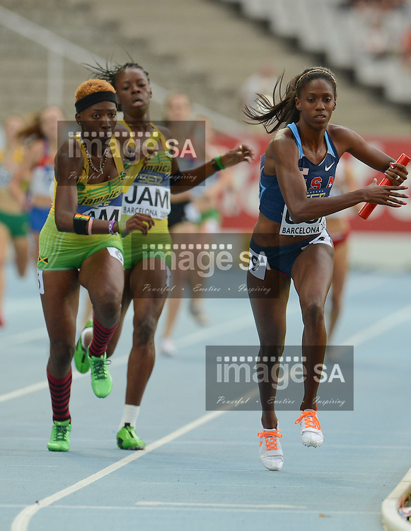 BARCELONA, Spain: Sunday 15 July 2012, Ashley Spencer of the USA runs the final leg in the women's 4x400m relay final during day 6 of the IAAF World Junior Championships at the Estadi Olimpic de Montjuic..Photo by Roger Sedres/ImageSA