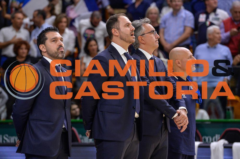 Staff Tecnico, Andrea Diana, Alessandro Magro,<br /> Dinamo Banco di Sardegna Sassari - Germani Basket Brescia Leonessa<br /> Lega Basket Seire A 2016/2017<br /> Sassari 15/10/2016<br /> Foto Ciamillo-Castoria