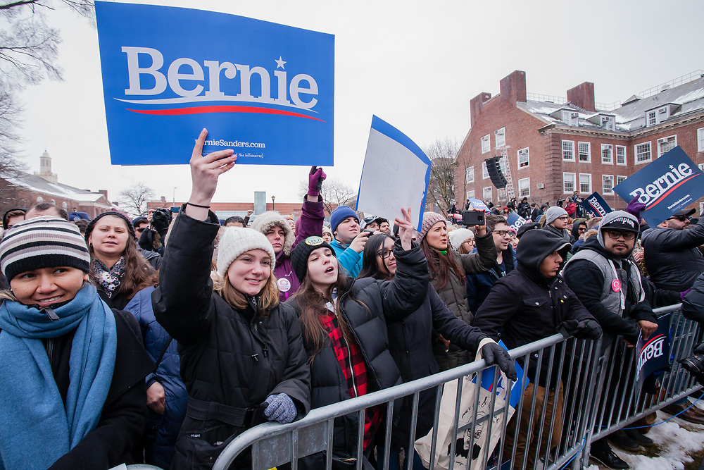 Brooklyn, NY - 2 March 2019. Sanders supporters at Bernie Sanders' first rally for the 2020 presidential primary at Brooklyn College.