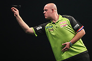 Michael van Gerwen during the PDC World Darts Championship at The MotorPoint Arena, Cardiff. Pictures taken by Shane Healey.