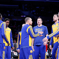 11 April 2014: Golden State Warriors guard Stephen Curry (30) is seen with his teammates during the players introduction prior to the Golden State Warriors 112-95 victory over the Los Angeles Lakers at the Staples Center, Los Angeles, California, USA.