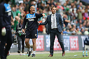 AFC Wimbledon assistant coach Neil Cox and AFC Wimbledon manager Neal Ardley during the Sky Bet League 2 play off final match between AFC Wimbledon and Plymouth Argyle at Wembley Stadium, London, England on 30 May 2016.