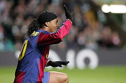 Ronaldinho appeals to the referee. Celtic v Barcelona, Uefa Champions League, Knockout phase, Celtic Park, Glasgow, Scotland. 20th February 2008.