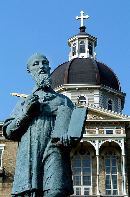 A statue of St. Francis de Sales, patron saint of writers, stands outside St. Francis de Sales Seminary in St. Francis, Wis. (Sam Lucero photo)