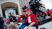 Lincoln, NE - Sept 2:  Fans take pictures outside the stadium before the game against the Arkansas State Red Wolves at Memorial Stadium in Lincoln Nebraska September 2 2017. Photo by Eric Francis