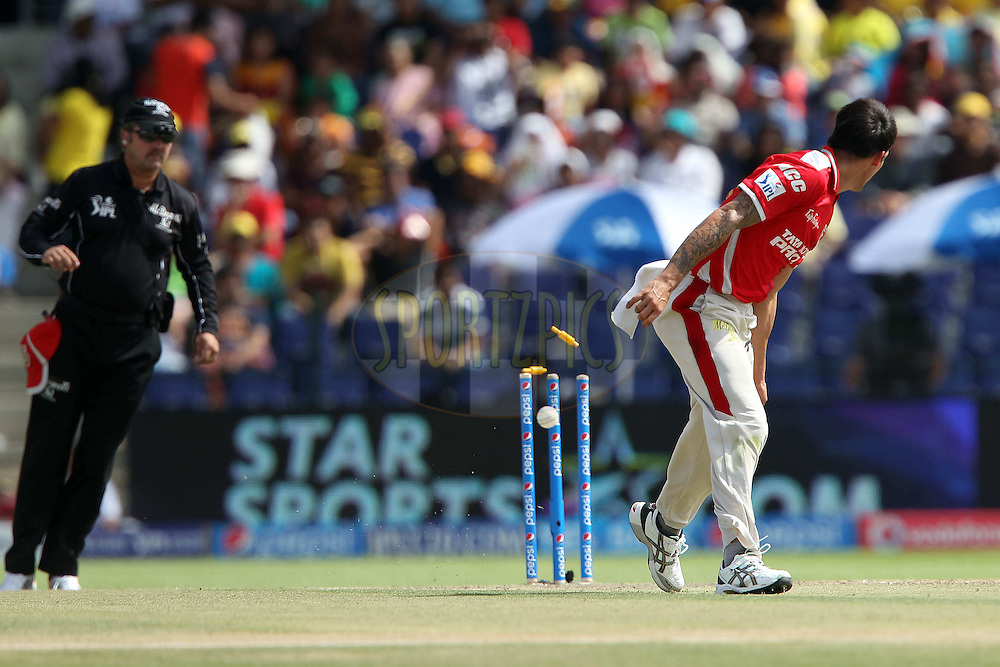 Mitchell Johnson of Kings XI Punjab during match 3 of the Pepsi Indian Premier League Season 7 between the Chennai Superkings and the Kings X1 Punjab held at the Al Zayed Cricket Stadium, Abu Dhabi, United Arab Emirates on the 18th April 2014<br /> <br /> Photo by Ron Gaunt / IPL / SPORTZPICS
