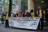 17 Apr.2015 - The RMT continue protest against Sodexo over Petrit Mihaj sacking.