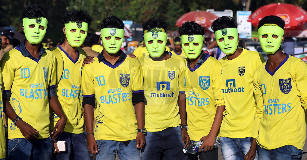 Fan's arrives for the match 9 of the Indian Super League (ISL) season 3 between Kerala Blasters FC and Delhi Dynamos FC held at the Jawaharlal Nehru Stadium in Kochi, India on the 9th October 2016.<br /> <br /> Photo by Sandeep Shetty / ISL/ SPORTZPICS