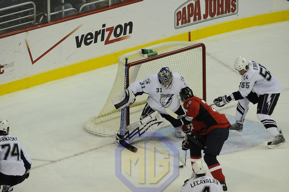 26 December 2007:  Tampa Bay Lightning goalie Karri Ramo (31) and  defenseman Shane O'Brien (55) in action against Washington Capitals left wing Alexander Semin (28) at the Verizon Center in Washington, D.C.  The Capitals defeated the Lightning 3-2.