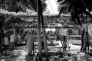Patients and doctors crowd the courtyard of a collapsed hospital in Port-au-Prince, Haiti.