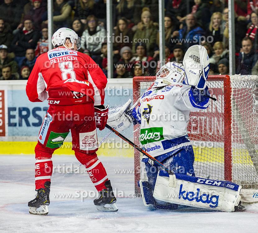 28.12.2018, Stadthalle, Klagenfurt, AUT, EBEL, EC KAC vs EC VSV, 32. Runde, im Bild Nick PETERSEN (EC KAC, #8), Dan Bakala (EC Panaceo VSV, #39) // during the Erste Bank Eishockey League 32th round match between EC KAC and EC VSV at the Stadthalle in Klagenfurt, Austria on 2018/12/28. EXPA Pictures © 2018, PhotoCredit: EXPA/ Gert Steinthaler