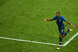 MOSCOW, RUSSIA - Sunday, July 15, 2018: France's Paul Pogba celebrates scoring the third goal during the FIFA World Cup Russia 2018 Final match between France and Croatia at the Luzhniki Stadium. (Pic by David Rawcliffe/Propaganda)