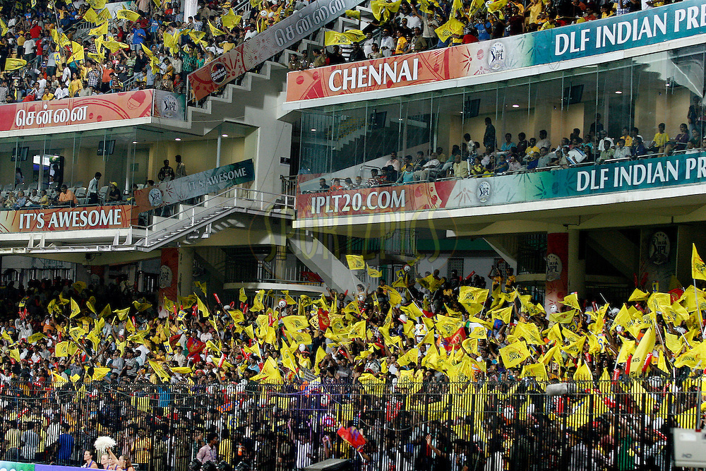 CSK supporters celebrating their win during the final of the Indian Premier League ( IPL ) Season 4 between the Chennai Superkings and the Royal Challengers Bangalore held at the MA Chidambaram Stadium in Chennai, Tamil Nadu, India on the 28th April 2011..Photo by Vino John/BCCI/SPORTZPICS .