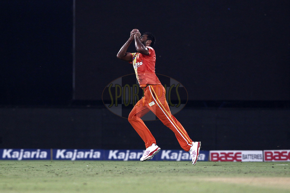 Wahab Riaz of the LAHORE LIONS take the catch of Yusuf Pathan of the Kolkata Knight Riders  during match 7 of the Oppo Champions League Twenty20 between the Kolkata Knight Riders and the Lahore Lions held at the Rajiv Gandhi Cricket Stadium, Hyderabad, India on the 21st September 2014<br /> <br /> Photo by:  Deepak Malik / Sportzpics/ CLT20<br /> <br /> <br /> Image use is subject to the terms and conditions as laid out by the BCCI/ CLT20.  The terms and conditions can be downloaded here:<br /> <br /> http://sportzpics.photoshelter.com/gallery/CLT20-Image-Terms-and-Conditions-2014/G0000IfNJn535VPU/C0000QhhKadWcjYs