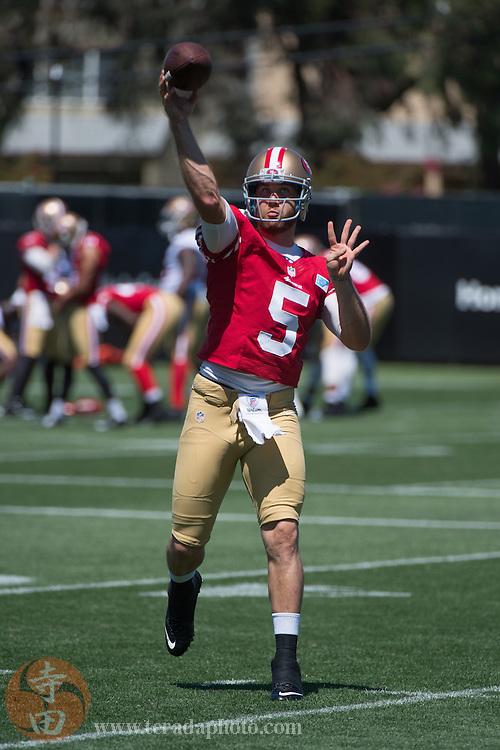 July 24, 2014; Santa Clara, CA, USA; San Francisco 49ers quarterback McLeod Bethel-Thompson (5) throws the football during training camp at the SAP Performance Facility.