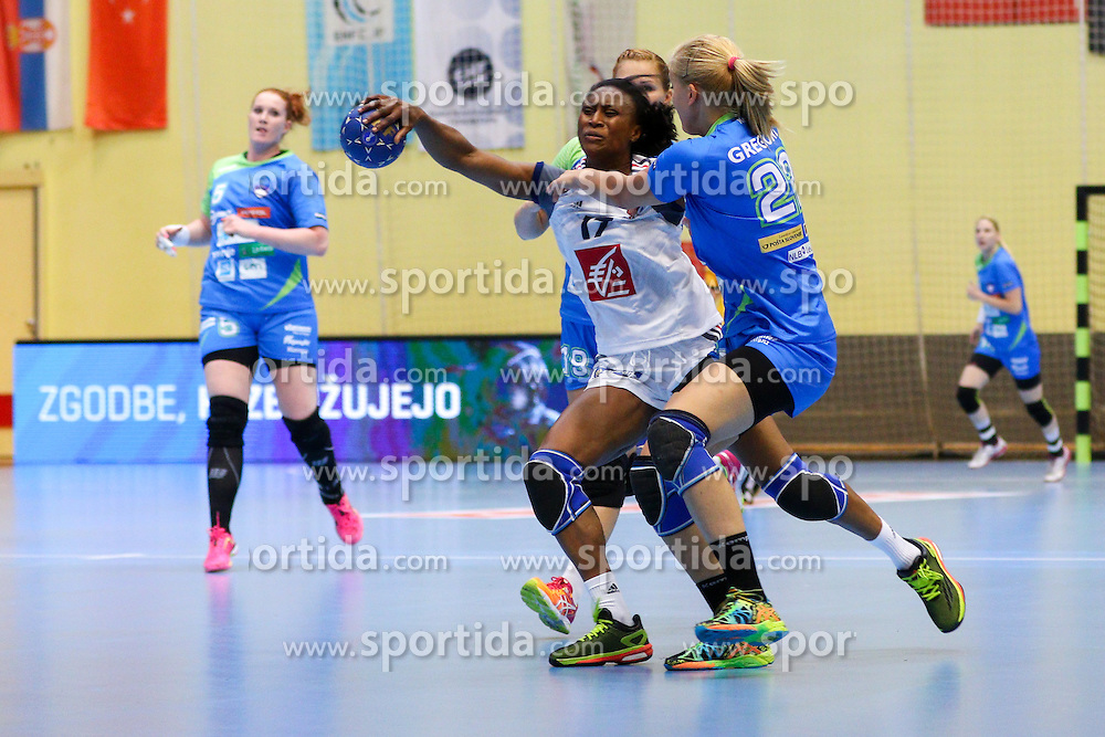 Siraba Dembele of France and Sanja Gregorc of Slovenia during handball match between National Teams of Slovenia and France in Qualification of 2015 Women's European Championship, on June 13th, in Rdeca Dvorana, Velenje. Photo by Morgan Kristan / Sportida