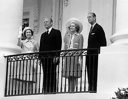 (Left to right) File photo dated 07/07/76 of Queen Elizabeth II, the then US President Gerald Ford, his wife, Betty, and the Duke of Edinburgh at the White House, in Washington.
