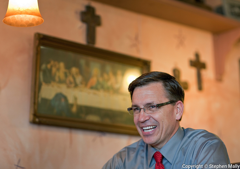 Congressman-elect Robert Schilling (IL-17) at his pizza shop, Saint Giuseppe's Heavenly Pizza, in Moline, Illinois on Tuesday November 9, 2010.