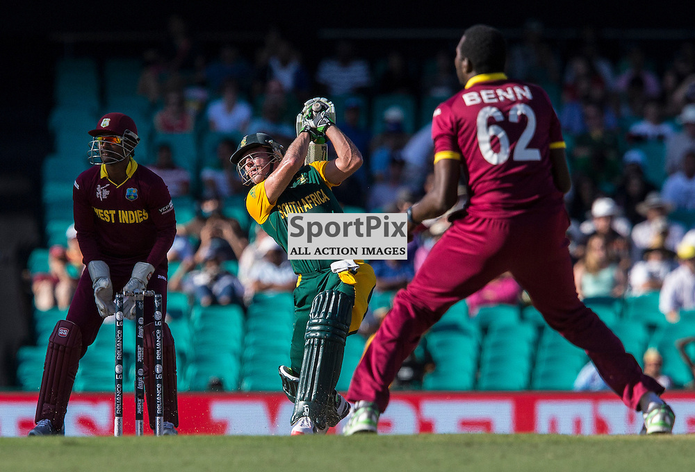 ICC Cricket World Cup 2015 Tournament Match, South Africa v West Indies, Sydney Cricket Ground; 27th February 2015<br /> South Africa&rsquo;s AB De Villiers smashes a 6