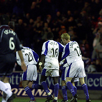 St Johnstone v Kilmarnock  11.02.01<br />St Johnstone players congratulate Paddy Connolly<br /><br />Pic by Graeme Hart<br />Copyright Perthshire Picture Agency<br />Tel: 01738 623350 / 07990 594431