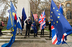 © Licensed to London News Pictures. 19/12/2018. London, UK. Anti-Brexit supporters protest outside the Houses of Parliament marking the 100 day countdown to UK Brexit. The British people voted in a referendum to leave the EU and will formally leave by March 29 2019. Photo credit: Ray Tang/LNP